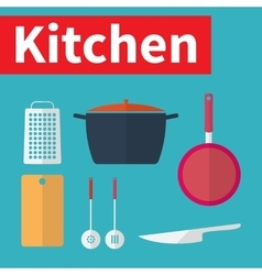 Kitchen utensils Flat design vector image