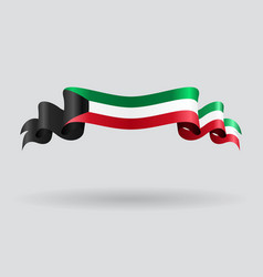 Kuwait wavy flag vector