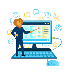 Lion business man stand at huge computer keyboard vector