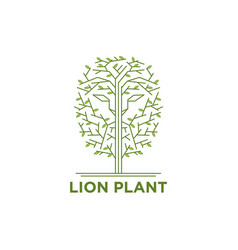 lion face in the trees logo vector image