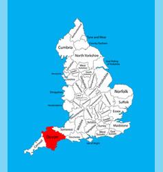 Map devon in south west england united kingdom vector