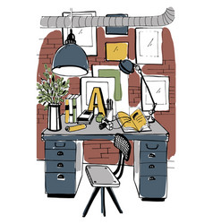 modern workplace interior in loft style workspace vector image