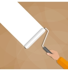 Paint roller with hand vector