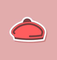 Paper sticker on stylish background beret vector