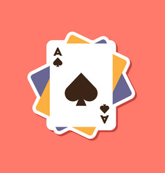 Paper sticker on stylish background poker playing vector