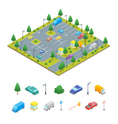 parking zone and elements concept 3d isometric vector image