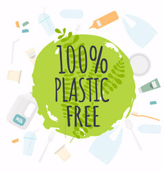 plastic free organic products stickers eco vector image