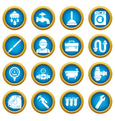 Plumber symbols icons set simple style vector