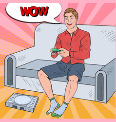 pop art guy playing videogame on a game console vector image