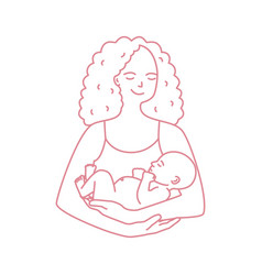 portrait of smiling mother holding baby drawn with vector image