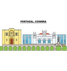 Portugal coimbra city skyline architecture vector