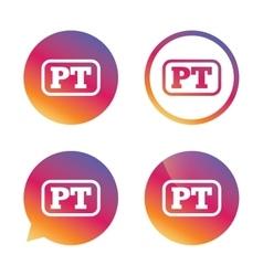 Portuguese language sign icon PT translation vector image