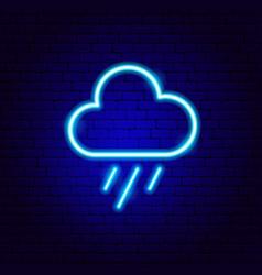 Rain cloud neon sign vector