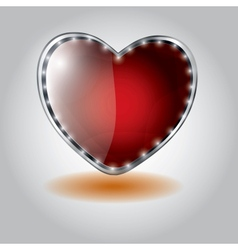 Red heart shaped glass button on valentine vector