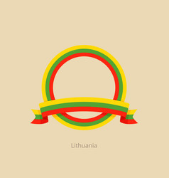 Ribbon and circle with flag of lithuania vector