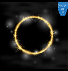 Round frame gold glittering star dust vector