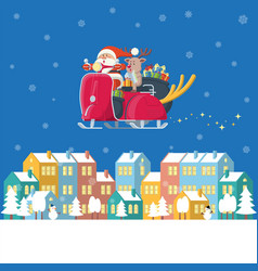 santa riding vintage scooter over winter town at vector image