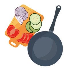 Saucepan onion tomato cucumber preparation cooking vector
