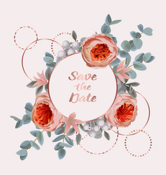 save date card with eucalyptus flowers and vector image