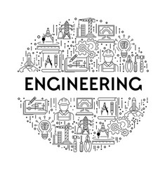 science and engineering line icons on emblem or vector image