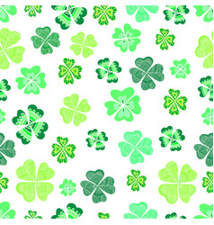 seamless green clover leaf decorative background vector image