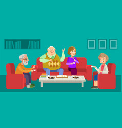 seniors couple enjoying conversation with guests vector image