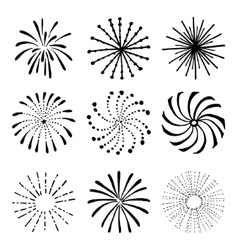 set hand drawn fireworks and sunbursts vector image