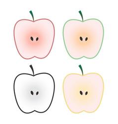 set of apple fruits isolated on white background vector image