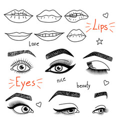 set of hand drawn womens eyes and lips vector image