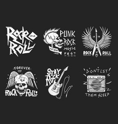 set of rock and roll music symbols with guitar vector image