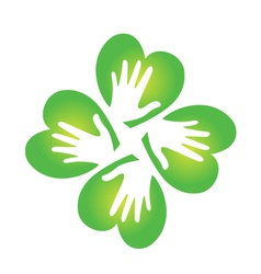 Shamrock and hands logo vector