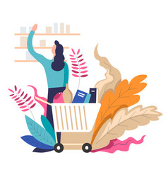 shopping woman with trolley and products leaves vector image