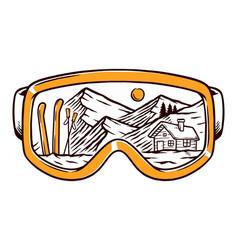 Ski goggles line vector