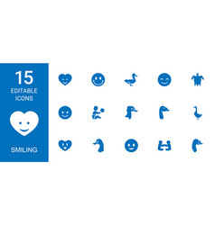 Smiling icons vector