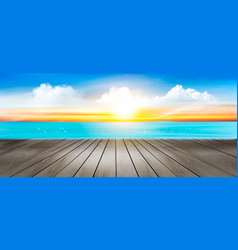 summer vacation panorama tropical beach with a vector image