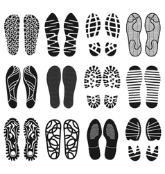 the collection a shoeprints shoes silhouette vector image