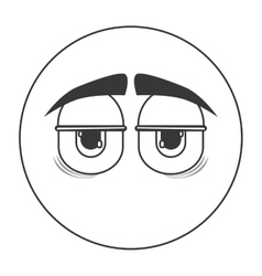Tired face emoticon icon vector