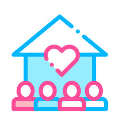 Volunteers support house thin line icon vector