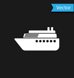 white ship icon isolated on black background vector image