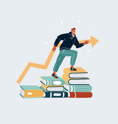 Young man steeps on stacks book vector