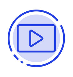 Youtube paly video player blue dotted line line vector