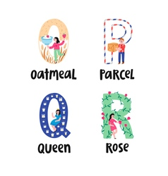 Alphabet letters o to r vector image