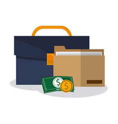 briefcase and money items vector image