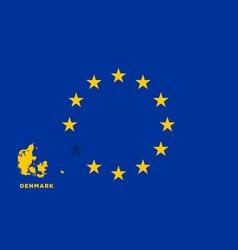 eu flag with denmark country european union vector image vector image