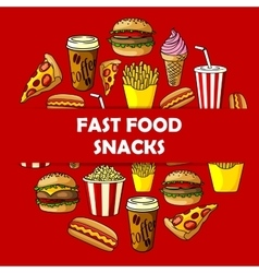 Fast food snacks label for menu card cover vector