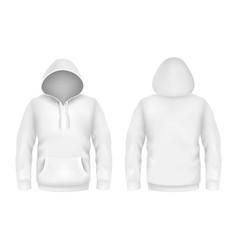 hoodie sweatshirt white 3d realistic mockup vector image