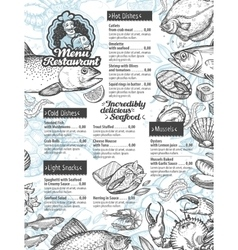 menu seafood template brochure or flyer vector image vector image