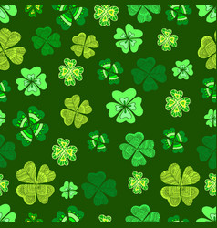 seamless green clover leaf decorative on a dark vector image vector image