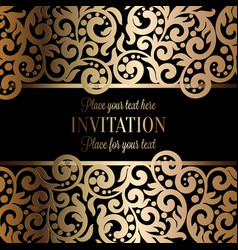 Antique baroque wedding invitation gold on black vector