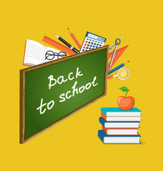 banner back to school with books and apple vector image vector image